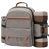 (Beige) - Sunflora Picnic Backpack For 4 Person Set Pack With Insulated Waterproof Pouch For Family Outdoor Camping (Brush Beige)