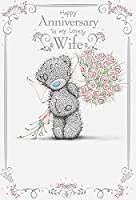 妻–Adorable Me To You Bear with Flower &カード結婚記念日グリーティングカード