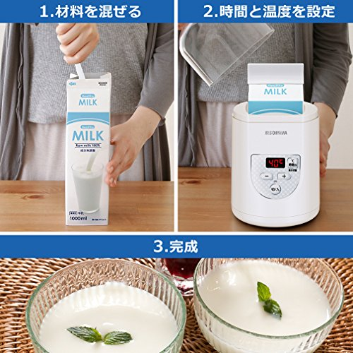 アイリスオーヤマ ヨーグルトメーカー プレミアム 温度調節機能付き IYM-012-W