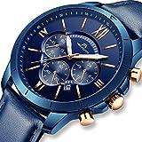 [メガリス]MEGALITH 腕時計 メンズ時計レザー クロノグラフ防水ウオッチブルー 多針アナログクオーツ腕時計 日付表示 ルミナス夜光 ラグジュアリー おしゃれ ビジネス カジュアル 男性腕時計