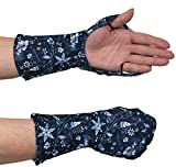 UVカット 指まで隠れるハンドカバー 【手の甲の日焼け防止手袋】紫外線対策 (ネイビー(フローラル))