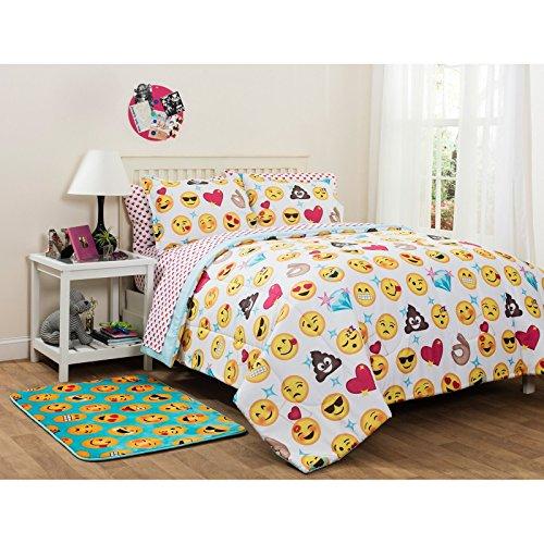 トレンディ、ソフト、愛らしい絵文字Pals bed-in-a-bag寝具セット、フル