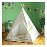 インディアン 室内テント キッズテント 木と布 おもちゃ おままごと テント 秘密基地 知育玩具 ホワイト