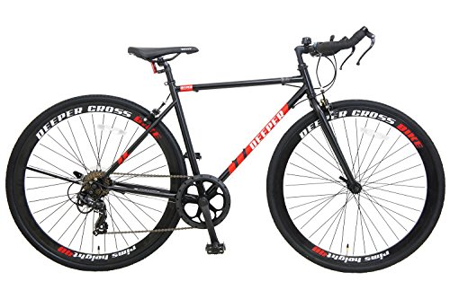 【2018年最新モデル】DEEPER クロスバイク 700C DE-5048 700×28C フレームサイズ480mm シマノ7段変速 ブルホーンハンドル エアロブレーキ クイックレリーズ 40mmリム LEDライト付き JIS耐振動試験合格フレーム 自転車 約27インチ ブラック×レッド
