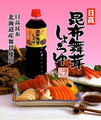 日高昆布舞茸しょうゆ 13%塩分 1リットル (箱入り(6本入り)) 日高昆布 醤油