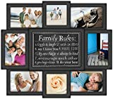 Malden International Designs Family Rules 8 Opening Dimensional Collage Black Picture Frame, 6-4 by 6-Inch [並行輸入品]