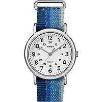 Timex Unisex TW2R102009J Weekender Blue Striped Denim Slip-Thru Strap Watch