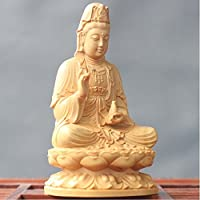 木彫仏像 観音菩薩 木製彫刻 祈る (高さ:6.5cm)
