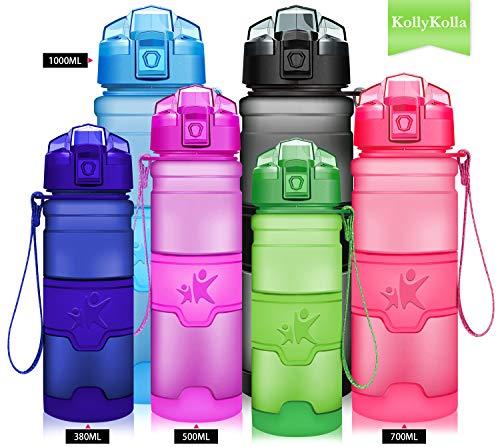 KollyKolla ウォーターボトル BPAフリー トリタン ワンクリックフリップトップ蓋 漏れ防止蓋 子供用 飲料ボトル 再利用可能 フィルター付き スポーツ アウトドア ジム ヨガ 380ml/500ml/700ml/1L 500ml/17oz