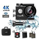 CrazyFire フルHD水中カメラ 170度広角レンズ アクションカメラ ワイヤレス 4K スポーツビデオ 空撮 2.0インチ液晶画面 リモコン付き 30M防水 アクションカメラセット(ACアダプター付きません)
