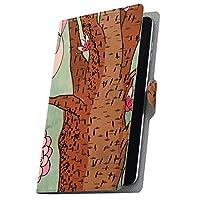 タブレット 手帳型 タブレットケース タブレットカバー カバー レザー ケース 手帳タイプ フリップ ダイアリー 二つ折り 革 鳥 花 フラワー 007264 ADP-738 Geanee ジーニー adp738xxxx adp738xxxx-007264-tb