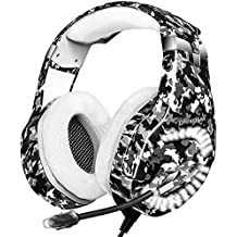 Gaming Headset for PS4, Xbox One Headset with 7.1 Surround Sound Stereo, Noise Cancelling Mic, Memory Foam Ear Pads, LED Light, Over-Ear Headphones for PC, Laptop(Adapter Not Included)