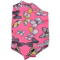 【ノーブランド品】 美しい バタフライ プリント 水着  服装  衣類  18インチ アメリカンガールドール用  全3色選べる  - ピンク
