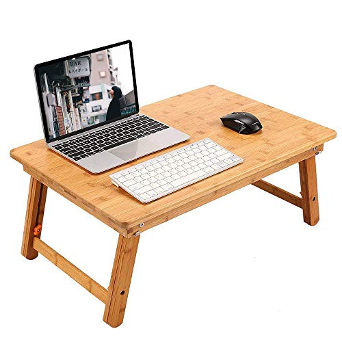 ノートパソコンデスク 竹製 ベッドテーブル ローテーブル 折りたたみ式 高さ調節可能 多機能 トレーテーブル ナチュラル シンプル デザイン どんな部屋でも馴染みします 幅60×奥行40×高さ25~36cm