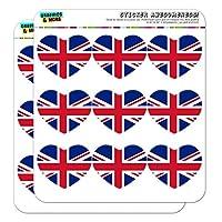 """イギリスイギリス連合ジャックカントリーフラッグ 2""""ハート型プランナーカレンダースクラップブッククラフトクリアステッカー"""