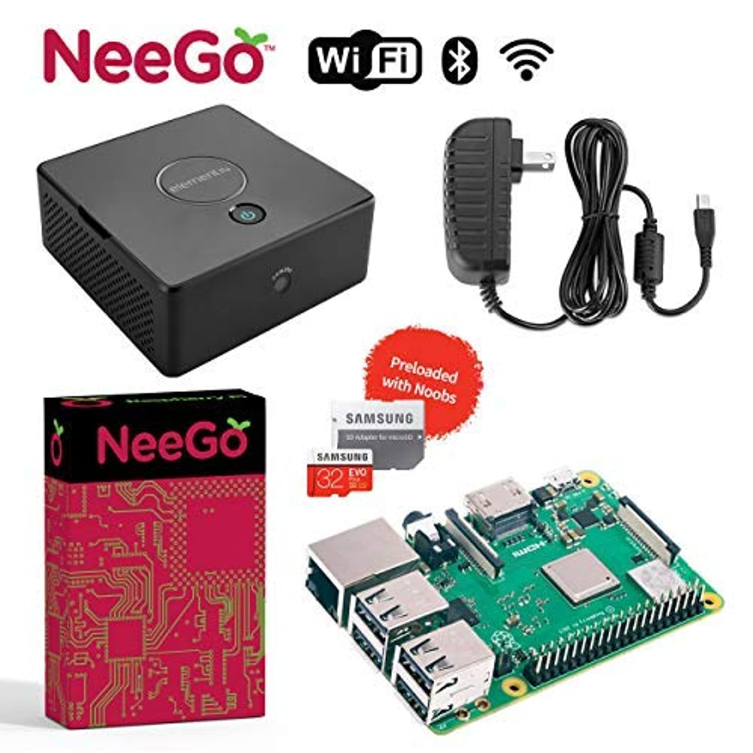 持続する解決する利点NeeGo Bundle – 4-Piece Build Your Own Computer Set Includes Raspberry Pi 3 B+ Motherboard, 32G SD Card w/Preloaded Noobs Operating System, Desktop Case Enclosure & 6-Foot 2.5A Power Supply [並行輸入品]