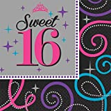 Elegant Sweet Sixteen Celebration Birthday Party Luncheon Napkins Tableware (16 Pack), Black/Gray, 6 1/2 x 6 1/2. by TradeMart Inc.