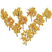 10本セット オレンジ色 モデルツリー ジオラマ 模型 プラスチック 樹木 木 森 材料 キット 公園 鉄道 建物 箱庭 風景 情景コレクションザ 教育 写真 11cm