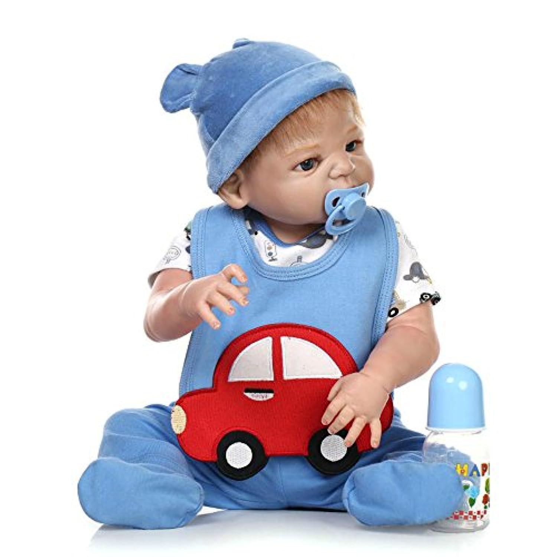 フルボディシリコン少年解剖学的に正しい新生児ビニールRebornベビー人形22インチLifelike磁気おしゃぶり人形ギフトおもちゃ