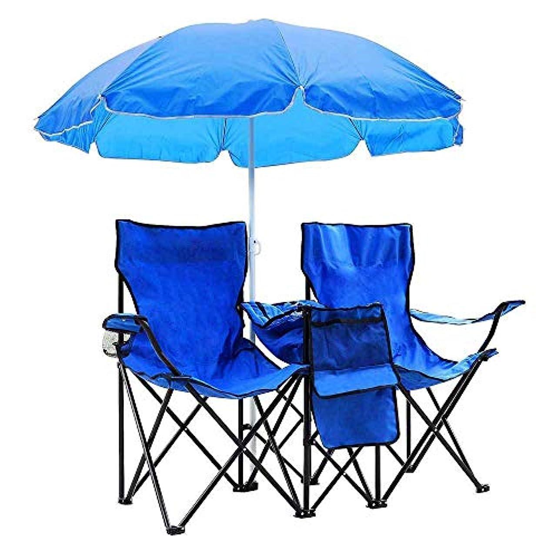 不利益振り返る思い出させるUS Stock PEATAO ポータブル アウトドア 2シート 折りたたみ椅子 取り外し可能な日傘付き アウトドア テラス ガーデン ピクニック 芝生 ビーチ キャンプ 釣り ブルー