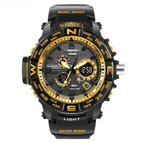 [해외]패션 시계 남성 스포츠 시계 남성 시계 SMAEL 디지털 시계 (옐로우)/Fashionable watches Men`s Sports Watch Men`s Watch SMAEL Digital Wrist Watch (Yellow)