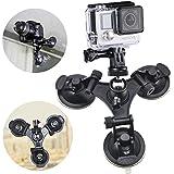 Erligpowht グレーター吸引力を持つ三サクションカップマウント+1/4Inch三脚マウントアダプタ+ Aステンレス製三脚ヘッドGoProヒーロー4、3+、3、2、1カメラ、SJ4000、SJ5000スポーツカメラやデジタルカメラ&小型ビデオカメラ用1/4インチのネジコネクタ付き(カメラケースとのGoProカメラは含まれません)