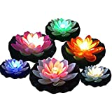 Simulation Plastic Floating Lotus - 6Pcs Battery Operated Mixed Colors Waterproof LED Lotus Light, Water Floating Lily Flower with Color-Changing Light, Flower Night Lamp for Pool Garden Christmas Decoration