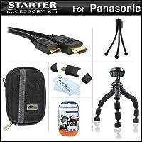 スターターアクセサリーキットfor the Panasonic dmc-zs15デジタルカメラはデラックス携帯ケース+ 7柔軟な三脚+ Mini HDMIケーブル+ USB High Speed 2.0SDカードリーダー+ LCDスクリーンプロテクター+ミニ卓上三脚+マイクロファイバークリーニングクロス