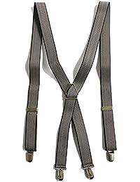 QUINTETTO 日本製 25mm幅 ヘリンボーン サスペンダー X型 メンズ フォーマル 吊りバンド ズボン吊り メンズ ブレイシーズ 03-0470 (ベージュ(BEIGE))