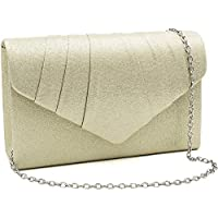 Milisente Women Evening Bag Faux Leather Glitter Pleated Clutch Purse Envelope Clutches(PU Leather Gold)