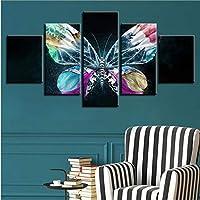 Xbwy 家の装飾オフィスフレーム壁アートワークポスター現代のキャンバス5ピース蝶花Hdプリントモジュラー風景写真絵画-30X40Cmx2,30X60Cmx2,30X80Cmx1