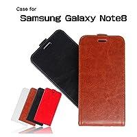 Samsung Galaxy Note8 ケース 縦開き レザー フリップ式 下開き 高級 PU レザー ギャラクシー ノート8 レザーケース おしゃれ おすすめ アンドロイド スマホケース 良品IT (ブラウン)