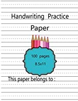 Handwriting Practice Paper: Notebook with Dotted Lined Sheets and beautiful cover for ABC kids, K-3 Students,k-2 students-100 pages large(8.5x11)