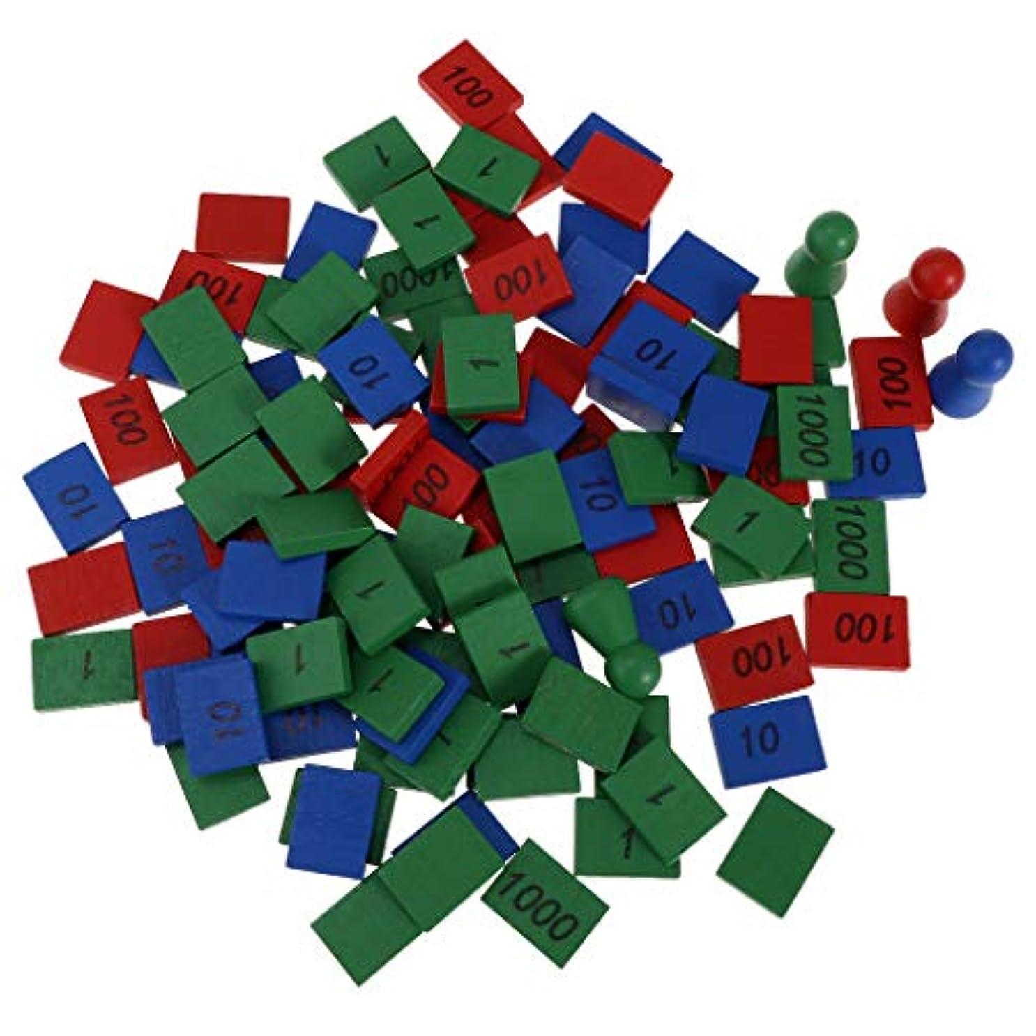 P Prettyia おもちゃ カラフルな 数学 子供たち 教育用 木製ラウンドヘッドコーン