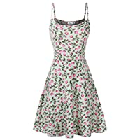 FINMYE Womens Sleeveless Floral Printed Swing Sundress Spaghetti Strap Dresses
