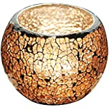 E-Home Shop Amber Cracked Glass Candles Holder for Home, Restaurant Decoration,Bathroom(D=7.5cm with 8.5cm Height)