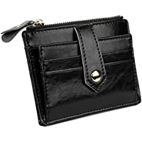 YALUXE Women's Compact Leather Card Case Wallet with Zipper Pocket ID Window