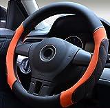 ontto ハンドルカバー ステアイングカバー フィット感を重視 スポーツ風 触感よく 38㎝ Mサイズ 汚れ防止 汗を吸収でき 通気性がよく マイクロファイバー革 orange