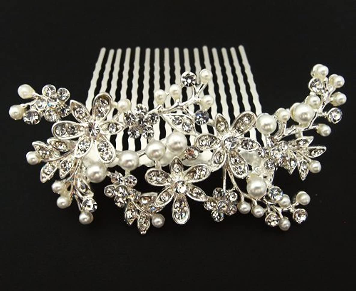 beautiful white Silver Color bridal wedding hair comb pearl and crystal #5 [並行輸入品]