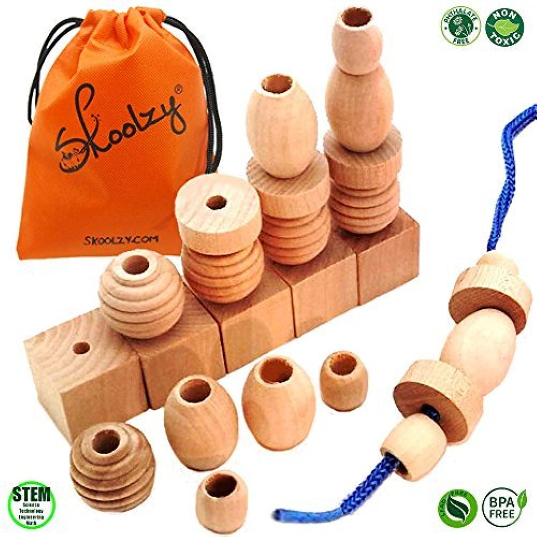 25 Natural Wood Blocks Lacing Beads by Skoolzy - Montessori Materials Preschool Toys Waldorf Motor Skills Stacking Building OT 【You&Me】 [並行輸入品]