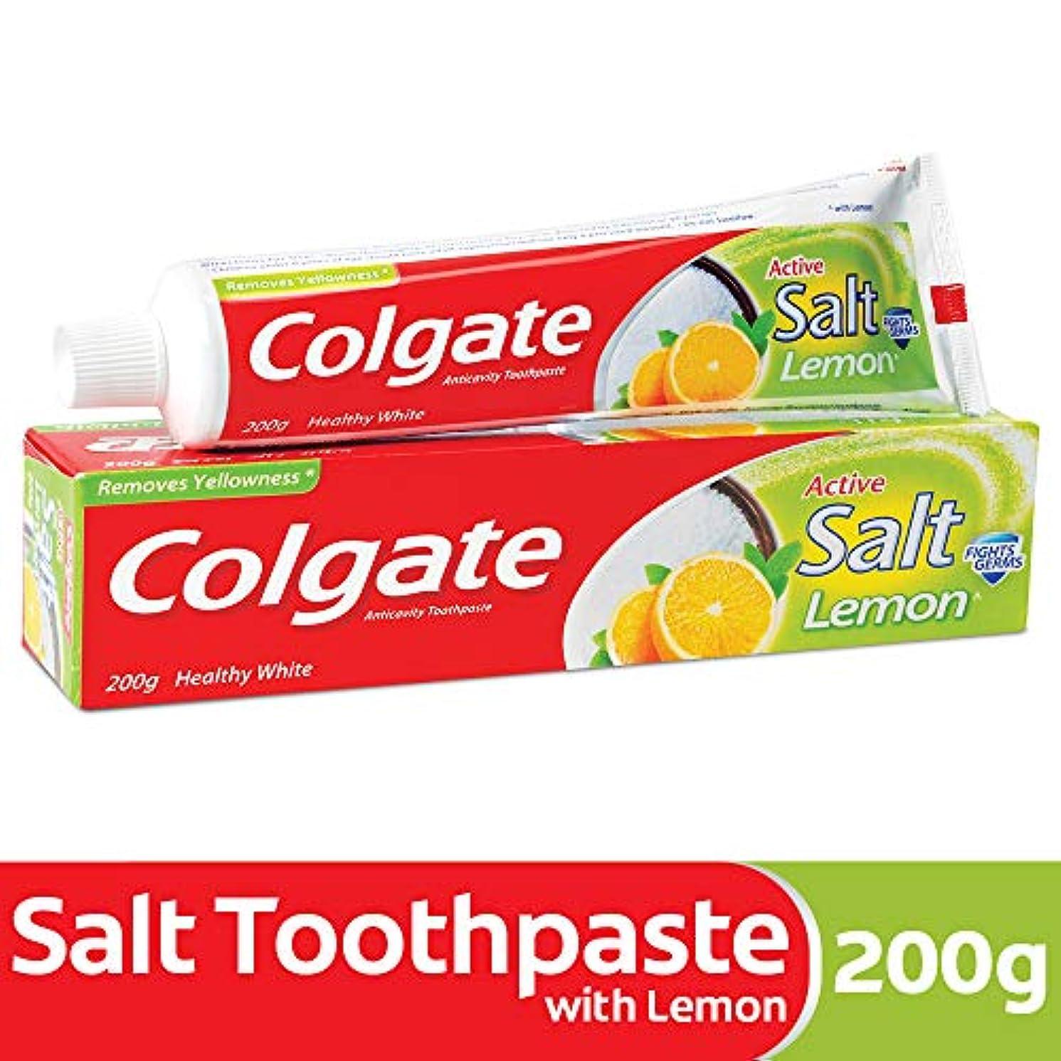 炎上ひねくれた遺伝的Colgate Toothpaste Active Salt - 200 g (Salt and Lemon)