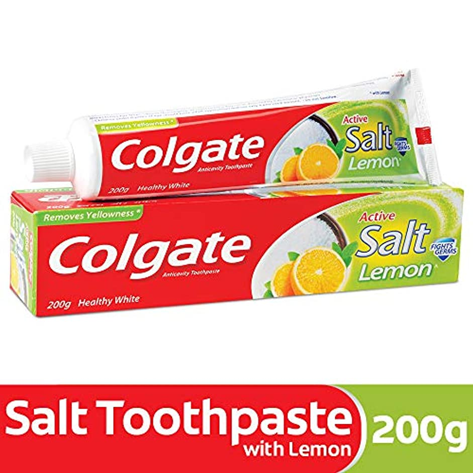 検証太鼓腹容赦ないColgate Toothpaste Active Salt - 200 g (Salt and Lemon)