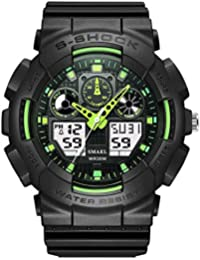 SMAELデジタル人気スポーツ腕時計 蛍光色デザイン 人気全3色 男女兼用ファッション運動時計 LEDバックライト機能 30メートル防水 (グリーン)