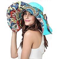 Women's Reversible Sun Hat with Chin Strap Floppy Wide Brim Packable Sun Protection Travel Beach Cap Visor UPF50+