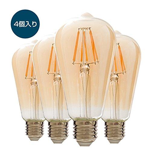 LED フィラメント電球 60W形 E26口金 6W 600lm エジソンランプ 電球色 2700k 雰囲気重視 LED電球 レトロ電球 4個入り