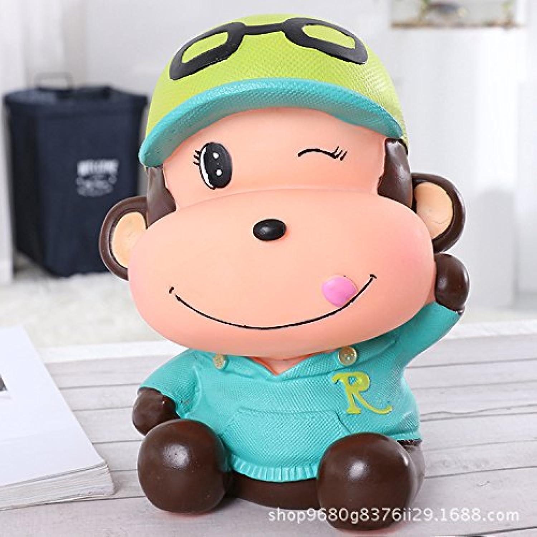 HuaQingPiJu-JP 創造的な漫画のベイビーモンキーピギーバンクビニールいたずらな猿の貯蓄銀行(青)