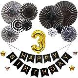 3歳バースデー デコレーションバルーンセット ブラック 誕生日 豪華 飾り付け 数字風船 ペーパーファン ガーランド お祝い パーティー