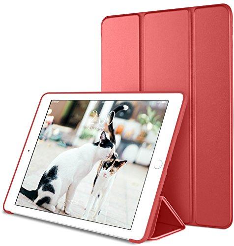 DTTO iPad Pro 10.5 ケース 生涯保証カード付け 超薄型 超軽量 TPU ソフト スマートカバー 三つ折り スタンド スマートキーボード対応 キズ防止 指紋防止 [オート スリープ/スリー プ解除] 2017最新版専用対応 アップルレッド