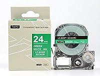 キングジム テプラPro用 互換 テープカートリッジ SD24GW(SD24Gの強粘着) 24mm 緑地白文字