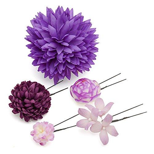 髪飾り Uピン・コーム5点セット ダリアと小花 紫